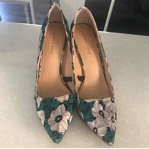 Who what wear green silver floral heels